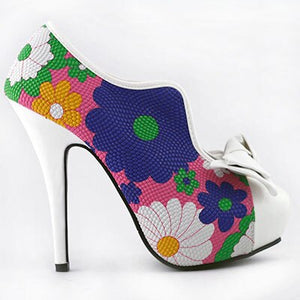 LF30447 New Sexy 60s Bow Multi color Floral Print Hidden Platform High Heel Ankle Boots
