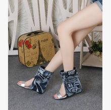 Load image into Gallery viewer, Spring Autumn Denim Boots Elegant Comfortable Ladies Fashion High Heel Sandle Sexy Woman Wedge Hollow Out Female Casual Shoe