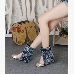 Spring Autumn Denim Boots Elegant Comfortable Ladies Fashion High Heel Sandle Sexy Woman Wedge Hollow Out Female Casual Shoe