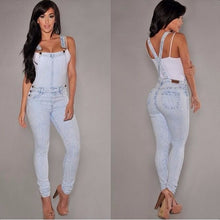 Load image into Gallery viewer, Sexy Fitness Denim Jumpsuit Vintage Women Bleached Denim Bodysuit Jeans Hot macacao feminino Denim casual Bodysuit Overalls