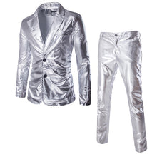Load image into Gallery viewer, (Jackets + Pants) Men Business Suit Sets Gold Silver Slim Tuxedo Formal Dress Brand Blazer Stage Performances Party Suits Men
