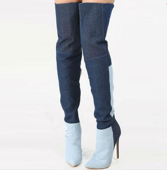 2017 Spring new patchwork denim boots pointed toe super high heels women thigh high boots 2 colors over the knee high long boots