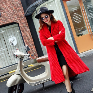 Korean Style Lady Real Sheared Rabbit Fur Coat Jacket Turn Down Collar Autumn Winter Women Fur Trench Outerwear Coats VF1087
