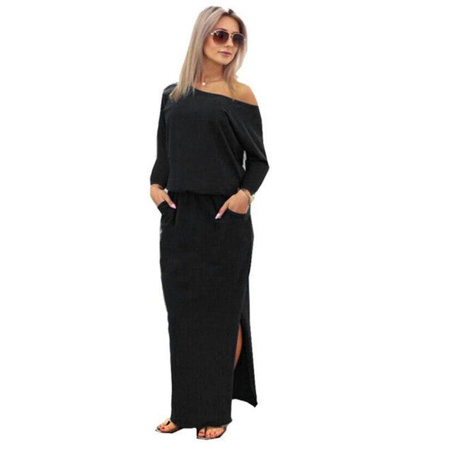 Sexy One Shoulder Dress Women Long Sleeve Long Maxi BOHO Split Evening Party Dress with Pocket Black Dress