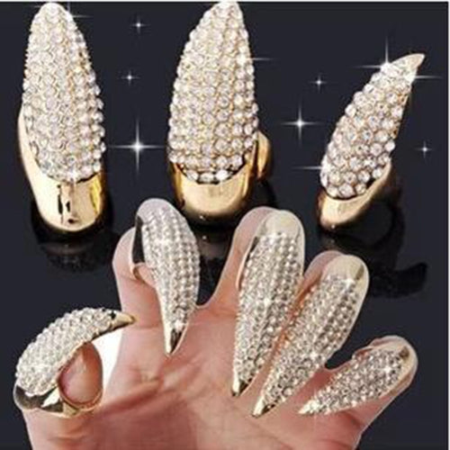 1 PCS Punk Exaggerated Gothic Celebrity Shine Cat Claw Rings Punk Crystal Fingernail Ring for Women Jewelry