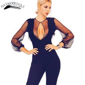 Mesh Sexy Bodysuit 2017 Summer Style Hollow Deep V Night Club Jumpsuit Overalls For Women Black Body Female Rompers Women Body