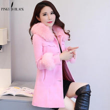 Load image into Gallery viewer, Pinky Is Black Winter Woolen Coats For Women Fashion Solid Single Breasted Overcoat Fur Collar Slim Outerwear Female Trench Coat