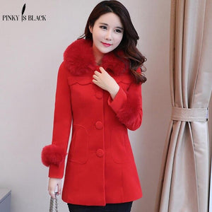 Pinky Is Black Winter Woolen Coats For Women Fashion Solid Single Breasted Overcoat Fur Collar Slim Outerwear Female Trench Coat