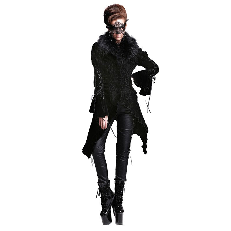 Gothic Women's Asymmetrical Jacket Detachable Fur Collar Vintage Dress Coats Black Velvet Long Coat