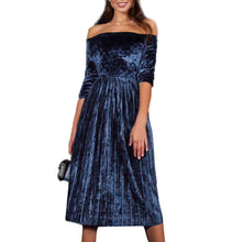 Load image into Gallery viewer, Womens Off Shoulder Velvet  Dress Ladies Evening Party  Loose Dress