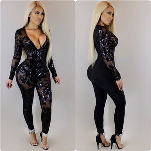See Through Black Sequin Jumpsuit Women Long Sleeve Sparkly Bodycon Jumpsuits Sexy Rompers Glitter Club Party Jumpsuits Overalls