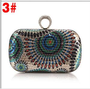 New arrival  Clutch Purse Silver Crystal Evening Bag Women Wedding Party Bridal Handbags Diamond Sky Blue Wholesale Chain 40