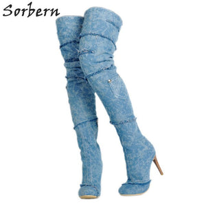 Sorbern Blue Denim Thigh High Boots For Women Plus Size Shoes High Heels Pocket Woman Shoes Luxury Brand Womens Shoes Size 10