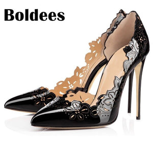 Boldee Sexy Ladies Carve out Leather Leggings Lace up Pumps Stiletto High Heels Point toe Woman Dress Pumps Celebrity Shoes