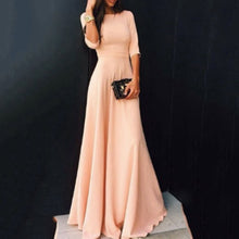 Load image into Gallery viewer, Women Ladies Half Sleeve Floor Length Dress Casual Loose Party Dress