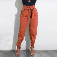 Load image into Gallery viewer, Womens Belted High Waist Trousers Ladies Party Casual Pants