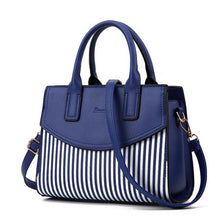 Load image into Gallery viewer, New Brand Design Fashion Women Handbag Black And White Stripe Tote Bag Female Shoulder Bags High Quality PU Leather Purse DJZ305