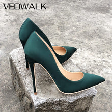 Load image into Gallery viewer, Veowalk Brand Silk Upper Women Sexy High Heels Elegant Lady Pointed Toe Party Pumps Woman Comfort Dress Shoes Customized Accept