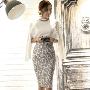 Women Autumn Cape Cloth Two Pieces Suit Dress Bat Sleeve Slim White Blouse Shirt Print Pencil Bodycon Skirt Knee-Length Vestidos