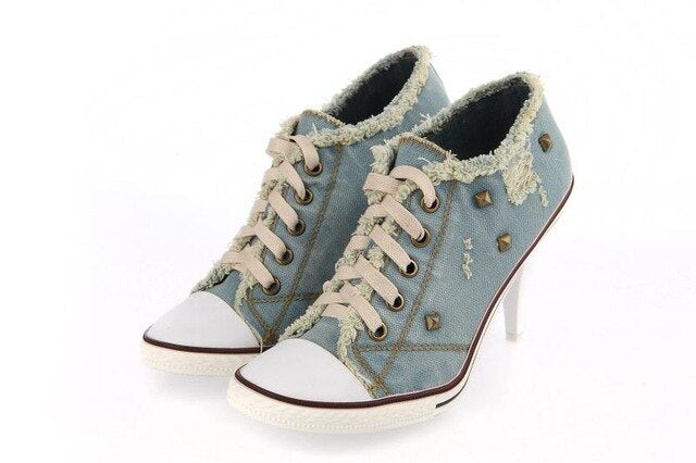Desinger Shoes studded High Heels Lace Up Blue Jeans Denim Boots For Women Girls Cowboy Ankle Boots Demine Pumps Shoes Woman