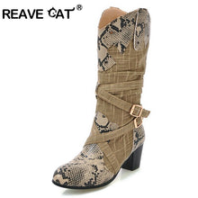 Load image into Gallery viewer, REAVE CAT Women boots Mid calf boots Round toe snake Fold 2018 New arrive Spring Autmn Buckle Female mujer Cool Warm Sale A693