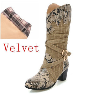 REAVE CAT Women boots Mid calf boots Round toe snake Fold 2018 New arrive Spring Autmn Buckle Female mujer Cool Warm Sale A693