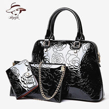 Load image into Gallery viewer, High Quality Luxury Patent Leather Women Handbags Floral Printing 3PCS Set Composite Messenger Bag Shoulder Tote+Purse Clutch