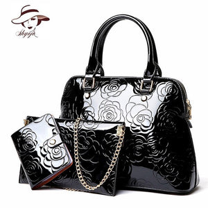 High Quality Luxury Patent Leather Women Handbags Floral Printing 3PCS Set Composite Messenger Bag Shoulder Tote+Purse Clutch