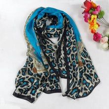 Load image into Gallery viewer, Women Blue Leopard Pattern Silk Scarf Extended Shawl Printed 2014 Fashion Apparel Accessories Brand Long Mulberry Silk Scarf