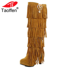 Load image into Gallery viewer, TAOFFEN Plus size 32-43 New Flock Winter Fur Women boots High heels Knee boots Fringe Tassels Black Brown Red Yellow Beige Punk