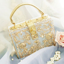 Load image into Gallery viewer, Limited high quality diamond flowers hollow relief Acrylic Ballot lock luxury handbag evening bag clutch coin for party purse