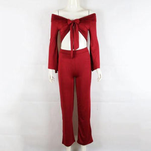 Women Ladies 2 Piece Crop Top Jumpsuit Long Sleeve Cut Out Playsuit Tracksuit