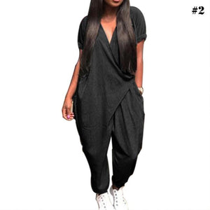 Women's Summer Fashion V Neck Short Sleeve Suit Loose Casual Jumpsuit