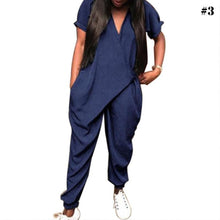 Load image into Gallery viewer, Women's Summer Fashion V Neck Short Sleeve Suit Loose Casual Jumpsuit