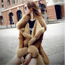 Load image into Gallery viewer, Women Faux Fur Coat Artificial sheepskin Stitching Big Turn-down Fox Collar Long Jacket Mink Fur Trench Coats Cashmere Outwear