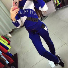 Load image into Gallery viewer, Women Casual Cropped Tops Pullover Hooded Sweatshirts and Pants Two Pieces Sets Suits Tracksuits