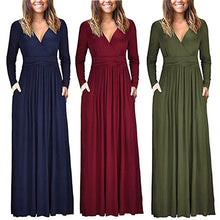 Load image into Gallery viewer, Women's  V Neck Loose Swing Long Sleeve Casual Floor Length Maxi Long Dresse
