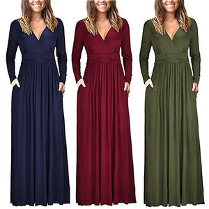Women's  V Neck Loose Swing Long Sleeve Casual Floor Length Maxi Long Dresse