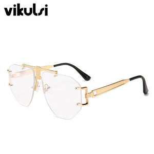 High Quality Pilot Square Sunglasses Women's 2018 New Fashion Glasses Trend Ladies Luxury Rimless Sunglasses Men Gradient Shades