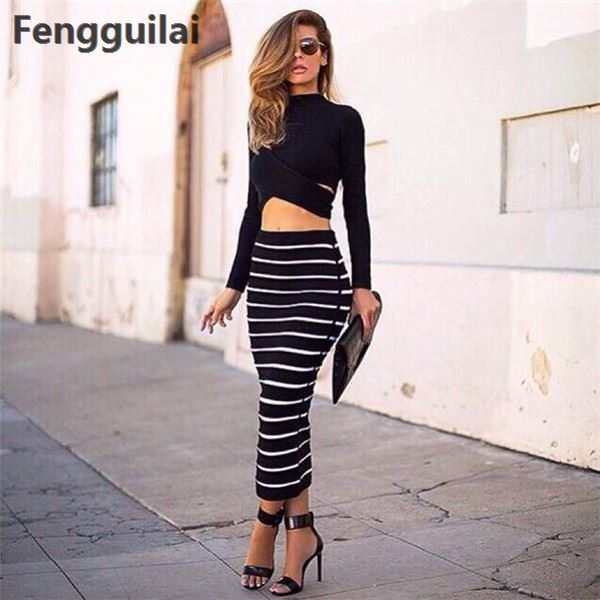 New Fashion 2 Piece Set Women Crop Top And Skirt Set Cross Crop Top And Striped Pencil Skirt Long Maxi Skirt Set Cropped