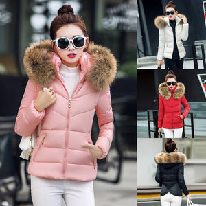 Women Thick Outerwear Hooded Coat Short Slim Cotton-padded Jackets Fur Coats
