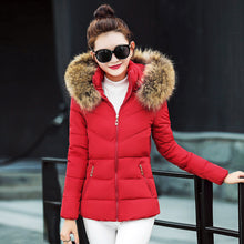 Load image into Gallery viewer, Women Thick Outerwear Hooded Coat Short Slim Cotton-padded Jackets Fur Coats