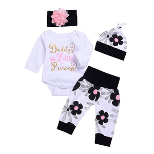 Newborn Baby Girl Long Sleeve Cotton Romper Outfit Toddler Children's Clothing Tops + Flower Pants +Headband+ Hat 4 Pieces Set