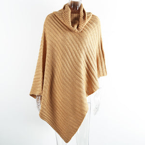Simplee Autumn knitted turtleneck pullovers poncho sweater women Vintage khaki sweater manta Winter gary thick sweater jumper