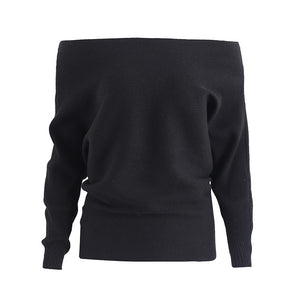 Simplee Off shoulder sexy elastic knitting pullover female Bat long sleeve knitted sweater women Fashion jumper pull knit shirt