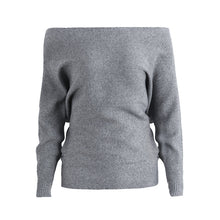 Load image into Gallery viewer, Simplee Off shoulder sexy elastic knitting pullover female Bat long sleeve knitted sweater women Fashion jumper pull knit shirt