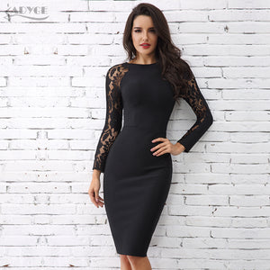 Elegant Black Floral Lace Party Dress