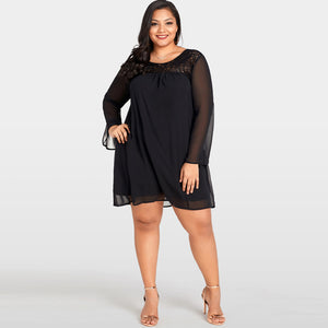 Women Large Size Lace Chiffon Dress Plus Size Sheer Sleeve Nightclub Casual Loose Party Dress Black