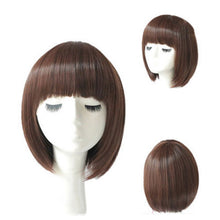 Load image into Gallery viewer, Women  Straight Bob Human Hair Full Lace Wigs Lace Front Medium Brown Wig