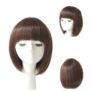 Women  Straight Bob Human Hair Full Lace Wigs Lace Front Medium Brown Wig